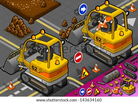 detailed illustration of a isometric mini excavator in rear view - stock photo