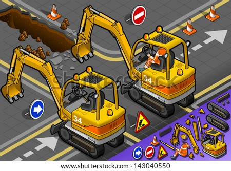 detailed illustration of a Isometric Mini Excavator with Man at Work in rear view - stock photo
