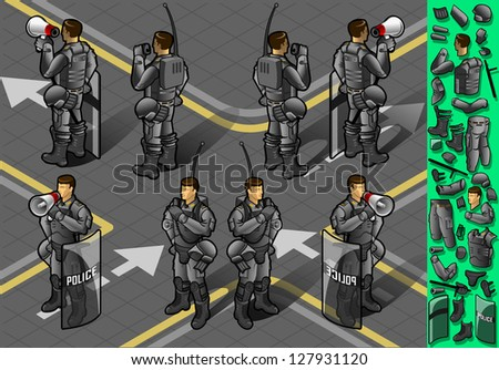 Detailed illustration of a isometric set of eight policemans standing