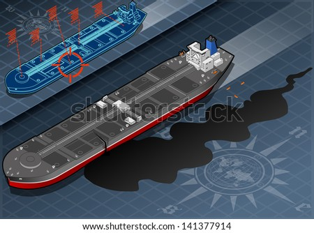 Detailed illustration of a Isometric Ship Tanker Leaky Oil in Front View - stock photo