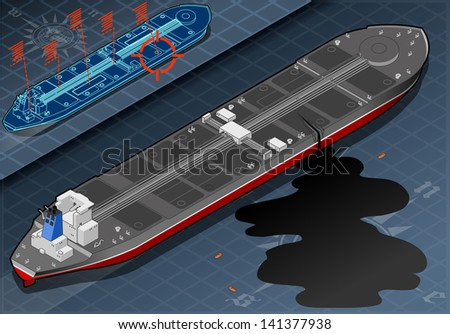 Detailed illustration of a Isometric Ship Tanker Leaky Oil in rear view - stock photo