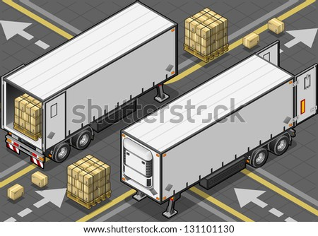 Detailed illustration of a isometric tow frigo truck with some packs