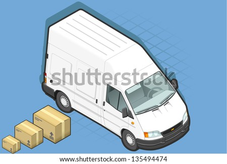 detailed illustration of a isometric white van in front view - stock photo