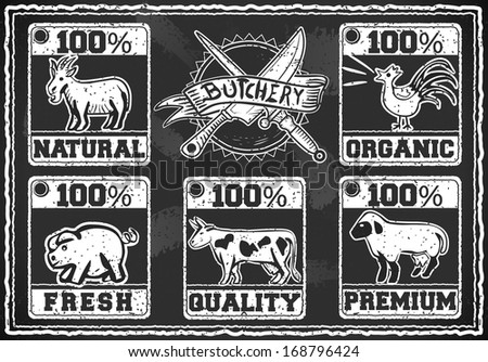 Detailed illustration of a Vintage Butcher Shop Labels on a Blackboard - stock photo