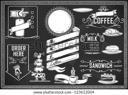 Detailed illustration of a vintage graphic element for bar menu on blackboard - stock photo