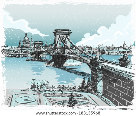 Detailed Illustration of a Vintage Hand Drawn View of Lions Bridge in Budapest - stock photo