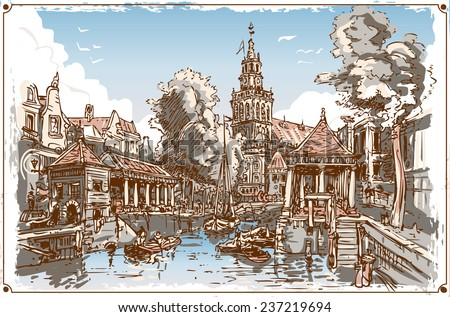 Detailed illustration of a Vintage View of Fish Market Canal in Gouda, Nederland   - stock photo
