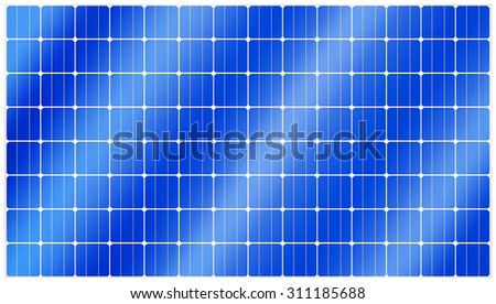 Detailed illustration of blue silicon photovoltaic electric solar panel texture - stock photo