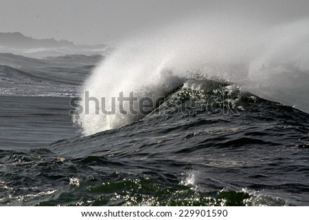 Detailed image of a big ocean wave approaching the portuguese coast - stock photo