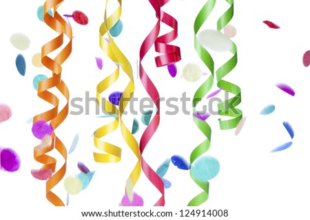 Detailed image of colorful streamers and confetti against plain white background. - stock photo