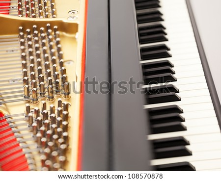 Detailed interior of grand piano showing the strings, pegs, sound board with focus on part of image and keys - stock photo