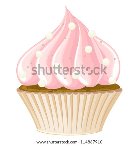 Detailed isolated icon of cupcake with pink cream and icing