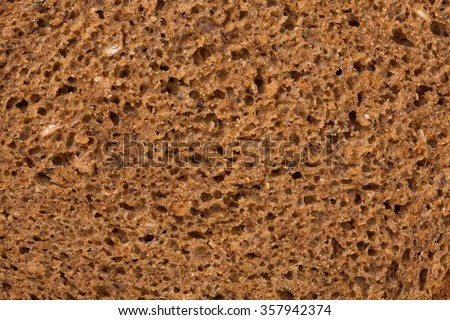 detailed look at the rye bread texture - stock photo