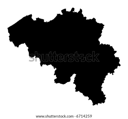 Detailed map of Belgium, black and white. Mercator Projection.