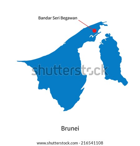Detailed map of Brunei and capital city Bandar Seri Begawan