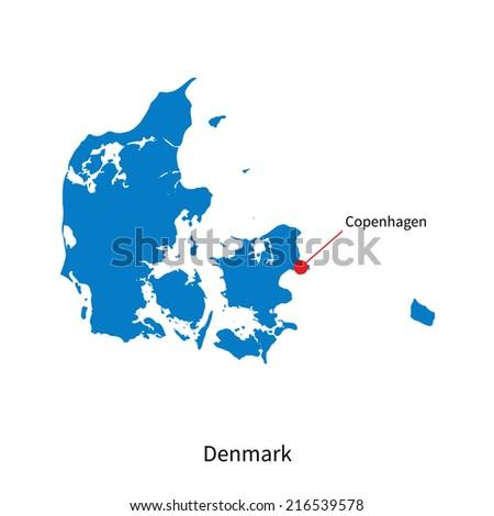 Detailed map of Denmark and capital city Copenhagen - stock photo