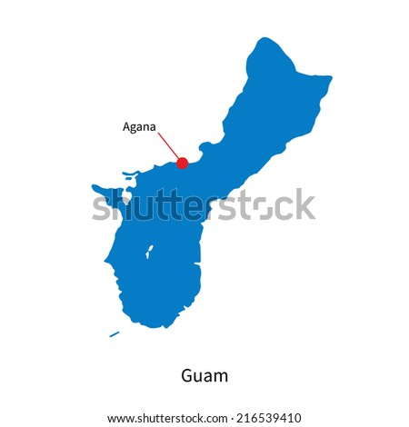 Detailed map of Guam and capital city Agana