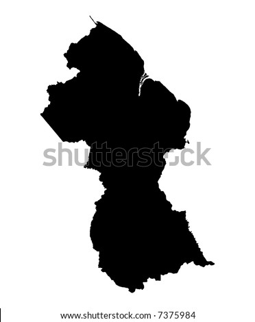 Detailed map of Guyana, black and white. Mercator Projection.