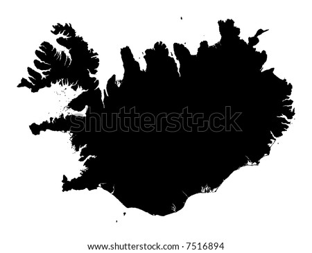 Detailed map of Iceland, black and white. Mercator Projection.