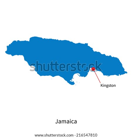 Detailed map of Jamaica and capital city Kingston - stock photo