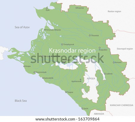 Detailed map of Krasnodar Region, Russia