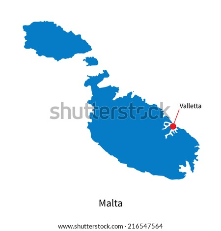 Detailed map of Malta and capital city Valletta - stock photo