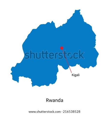 Detailed map of Rwanda and capital city Kigali - stock photo