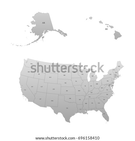 Detailed Map United States Including Alaska Stock Vector - Us map with states abbreviated