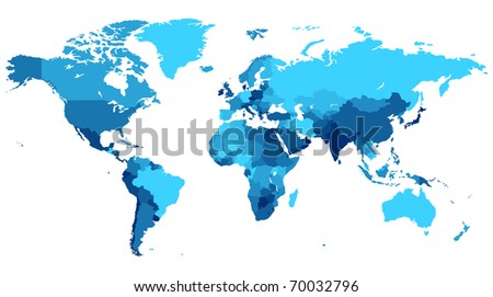 Detailed map of the World with countries in blue colors. Raster version. Vector version is also available.
