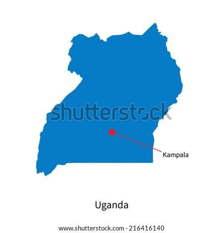 Detailed map of Uganda and capital city Kampala - stock photo