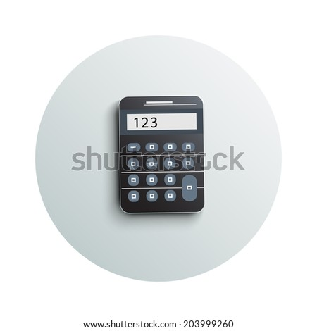 Detailed modern app icon of calculator business concept on white background. Office and business work elements. Raster version - stock photo