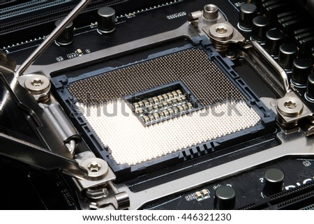 Detailed modern slot for cpu in black motherboard - stock photo