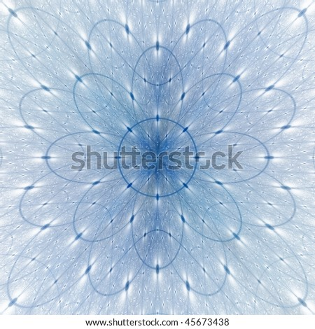 Detailed navy blue abstract flower design on white background