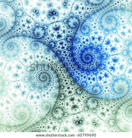 Detailed Navy, blue and green abstract fractal spirals on white background - stock photo