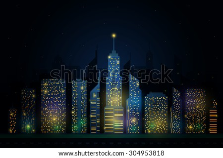 Detailed night city skyline