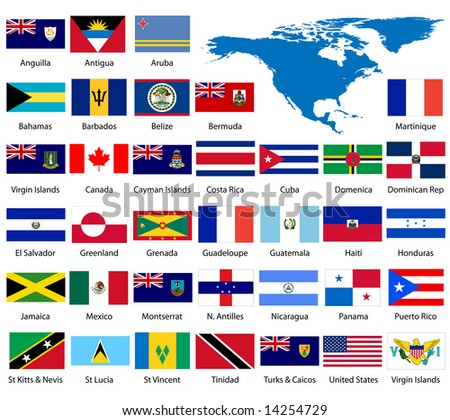 Detailed North American Flags and Map - also available in EPS format - stock photo