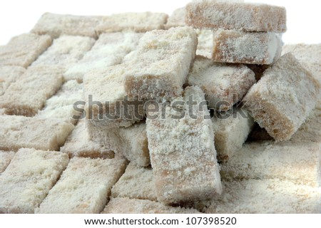 detailed of sweet pastries sprinkled with powdered milk