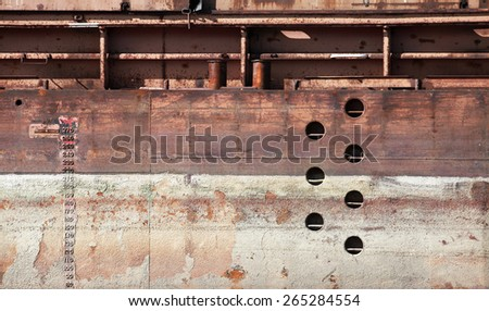 Detailed old rusted barge hull background photo texture - stock photo