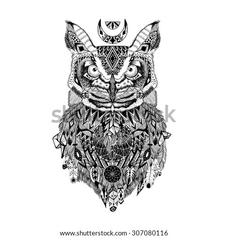 detailed owl aztec style stock illustration 307080116 shutterstock. Black Bedroom Furniture Sets. Home Design Ideas