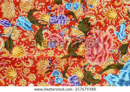 detailed patterns of Indonesia batik cloth - stock photo