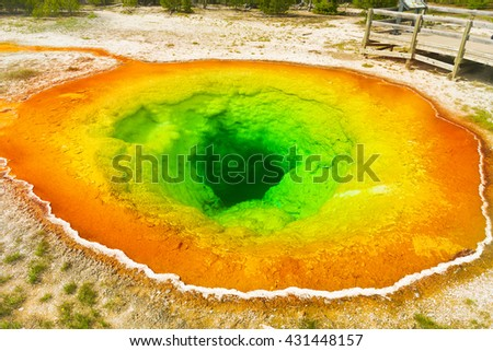 Detailed photo of Morning glory pool from above. Yellowstone National Park, Wyoming, USA