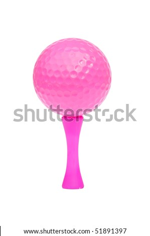 Detailed photograph of a bright pink golf ball and tee, isolated on a pure white background. - stock photo