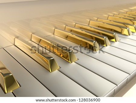 Detailed Piano with gold keys - stock photo