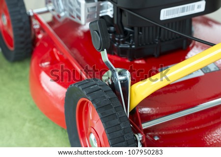 Detailed picture of a state of the art lawn mower.