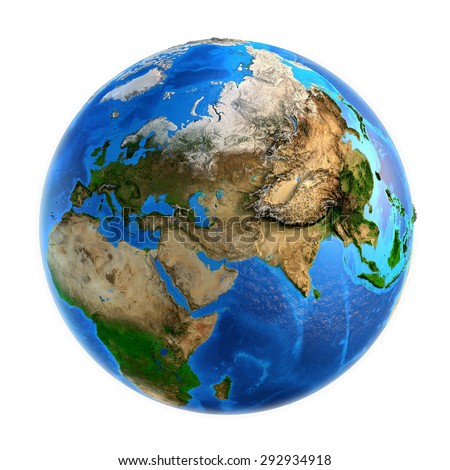 Detailed picture of the Earth and its landforms, isolated on white. Elements of this image furnished by NASA - stock photo