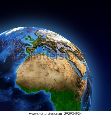 Detailed picture of the Earth and its landforms, view of European, African and Asian continent. Elements of this image furnished by NASA - stock photo