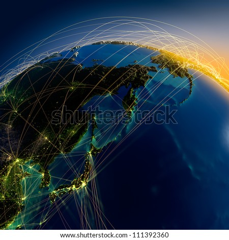 Detailed planet Earth at night with embossed continents. Earth is surrounded by a luminous network, representing the major air routes based on real data. Elements of this image furnished by NASA - stock photo