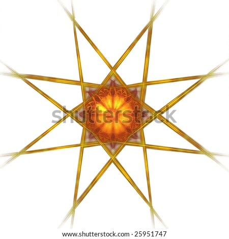 Detailed red, orange and gold eight sided star on white background