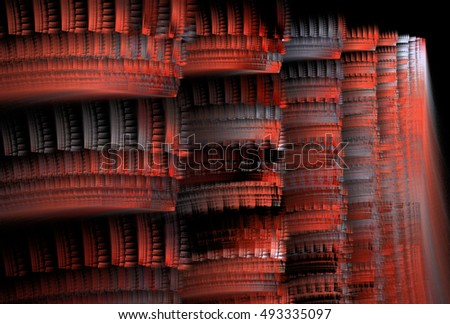 Detailed red / silver abstract textured columns on black background