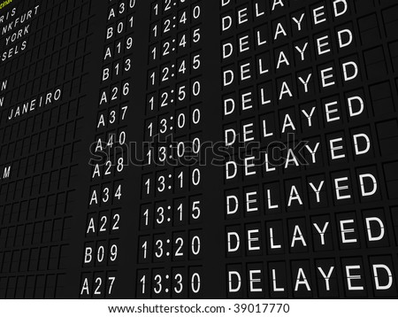 Detailed rendering of a flight information board showing all flights delayed. - stock photo